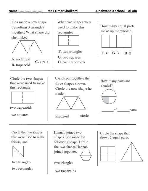 small resolution of 2d shapes and equal shares grade 1 worksheet