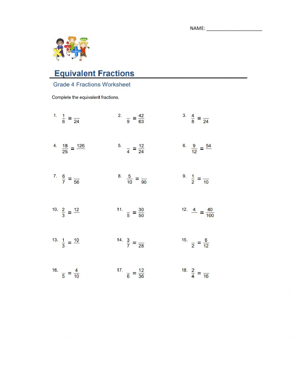 hight resolution of Equivalent Fractions interactive activity
