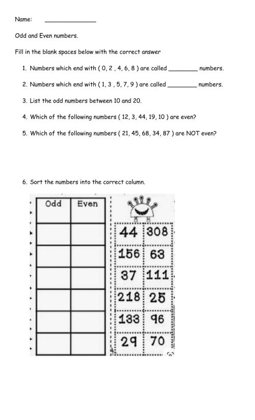 small resolution of Odd and Even Numbers interactive worksheet