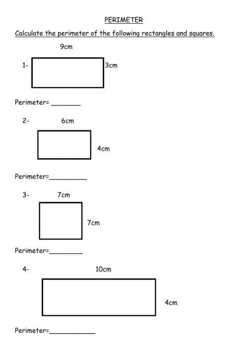 small resolution of Perimeter of rectangles and squares worksheet