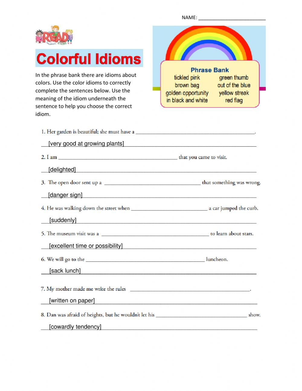 hight resolution of Colorful Idioms worksheet