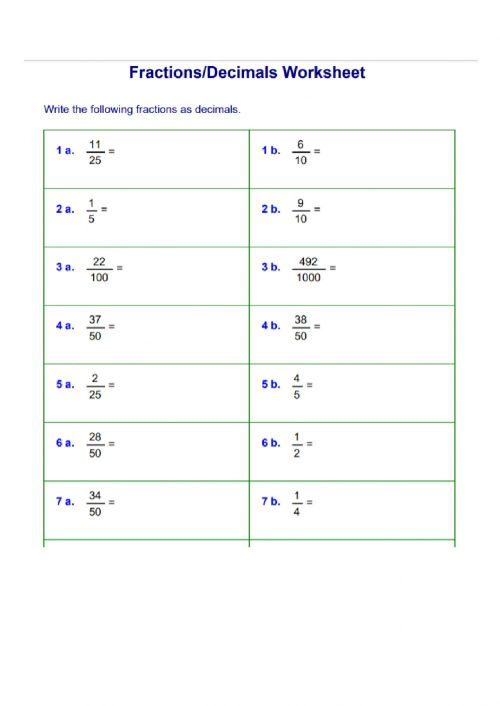small resolution of Convert fractions to decimals worksheet