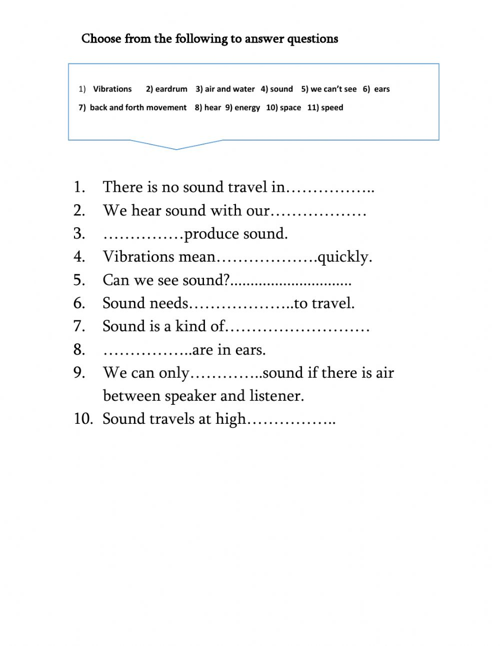 hight resolution of Sound and vibrations interactive worksheet