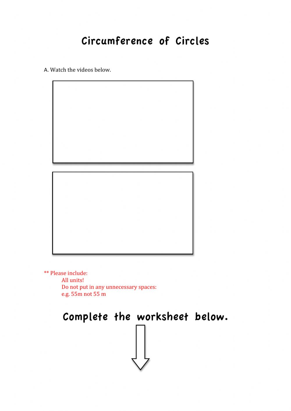 hight resolution of FInding the Circumference of a Circle worksheet