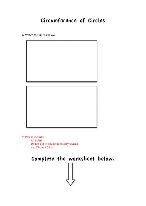 small resolution of FInding the Circumference of a Circle worksheet