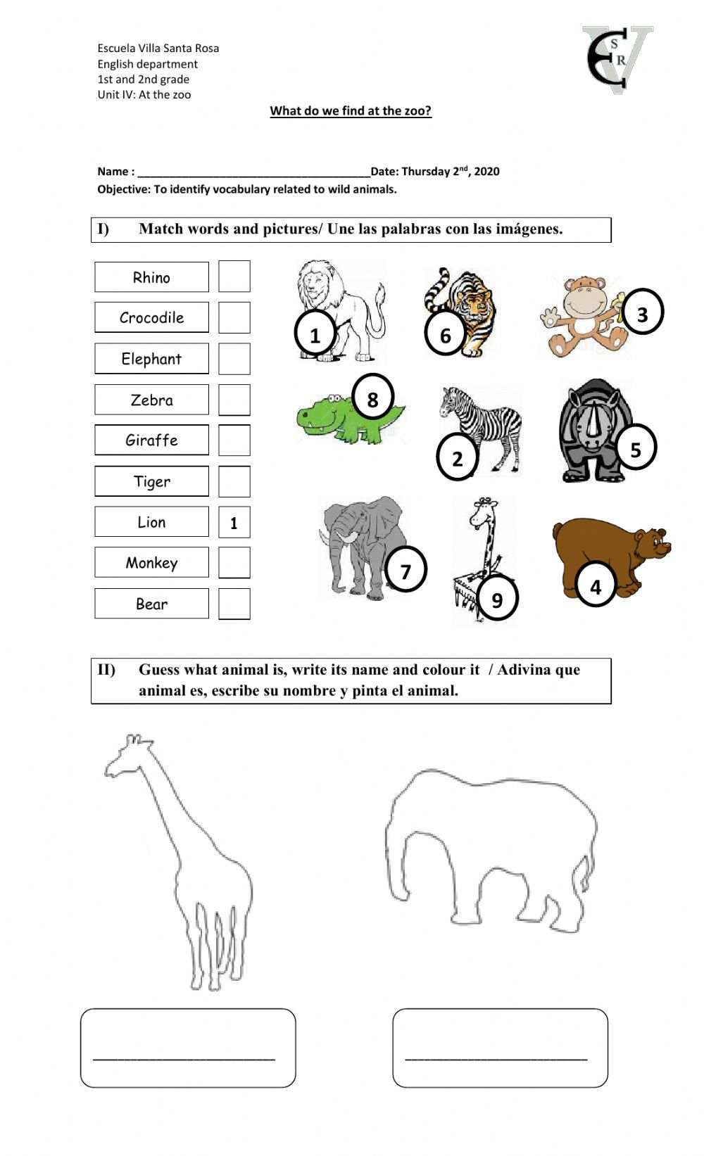hight resolution of At the zoo zsciencez activity