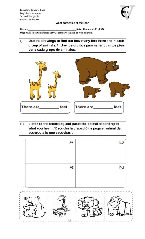 small resolution of At the zoo 3 worksheet