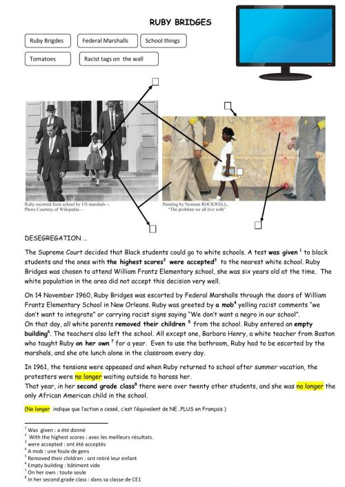 small resolution of Ruby Bridges in the 60s - George Floyd today worksheet