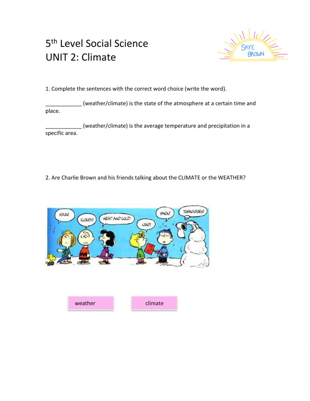 hight resolution of 5th Level Social Science Unit 2 worksheet