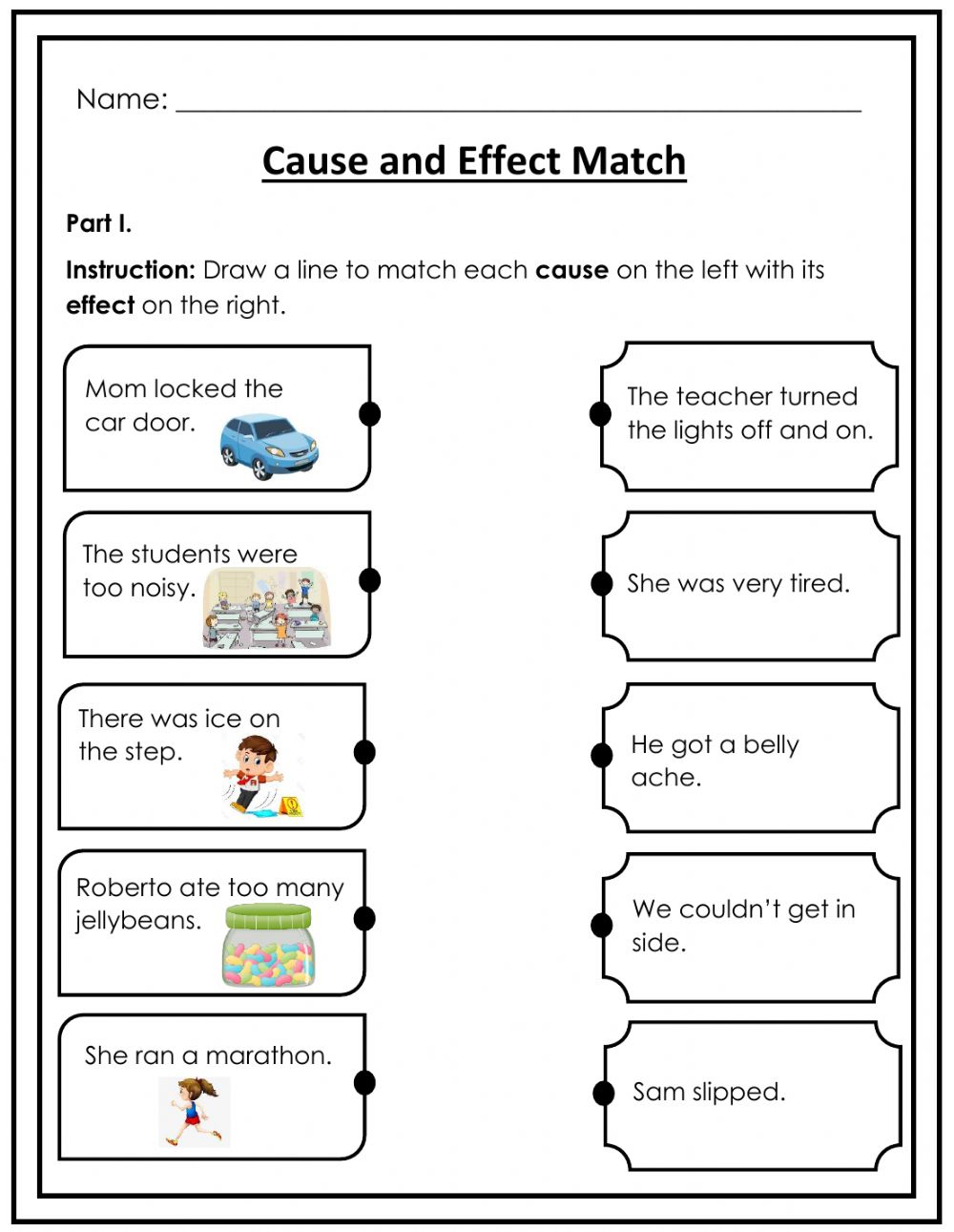 hight resolution of Cause and Effect Match interactive worksheet