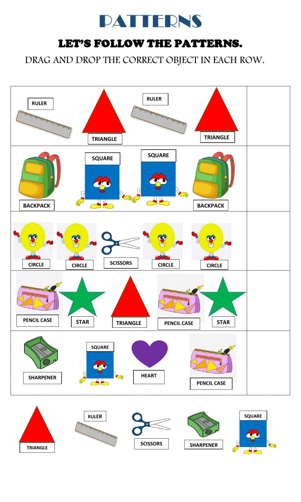 medium resolution of Shapes and school objects patterns worksheet