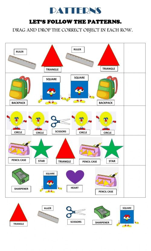 small resolution of Shapes and school objects patterns worksheet