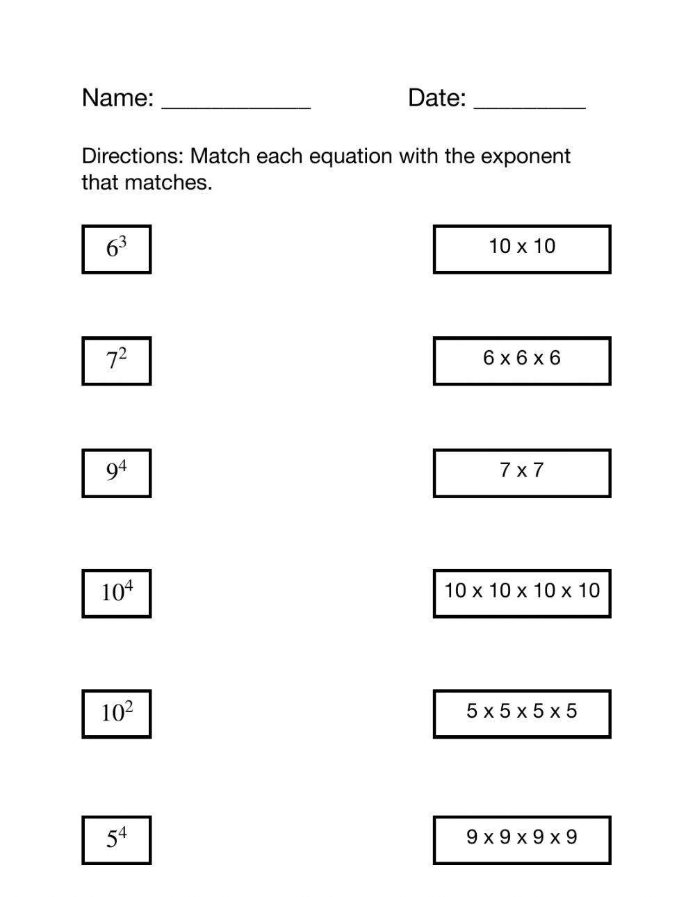 hight resolution of Match Exponents to Equations worksheet