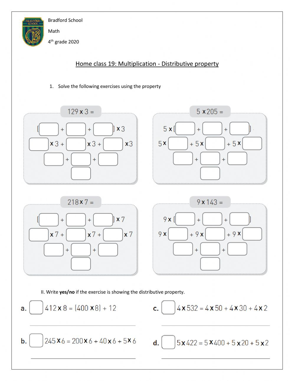 hight resolution of Distributive property interactive worksheet