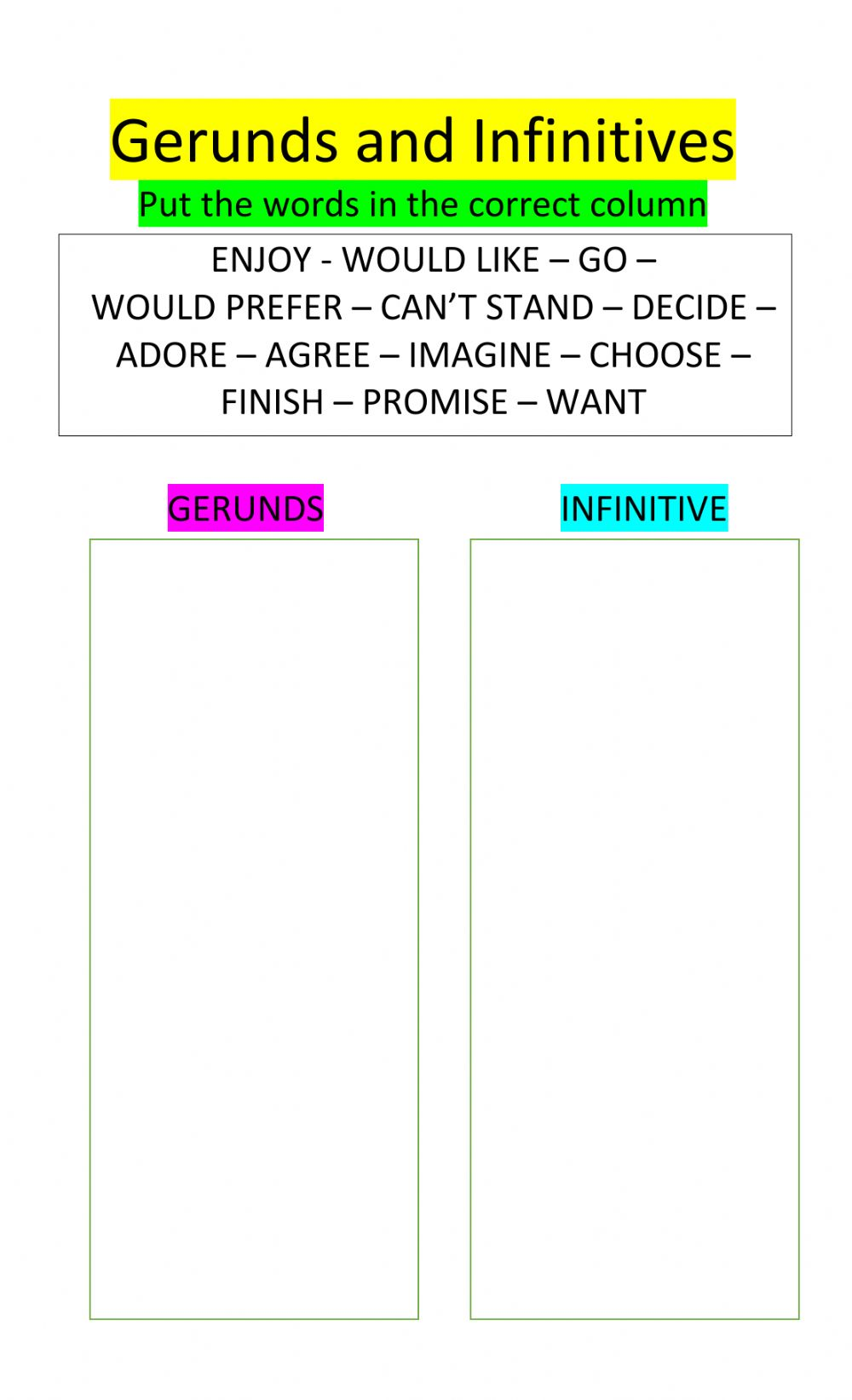 hight resolution of Gerunds and Infinitives online worksheet for 8th Grade