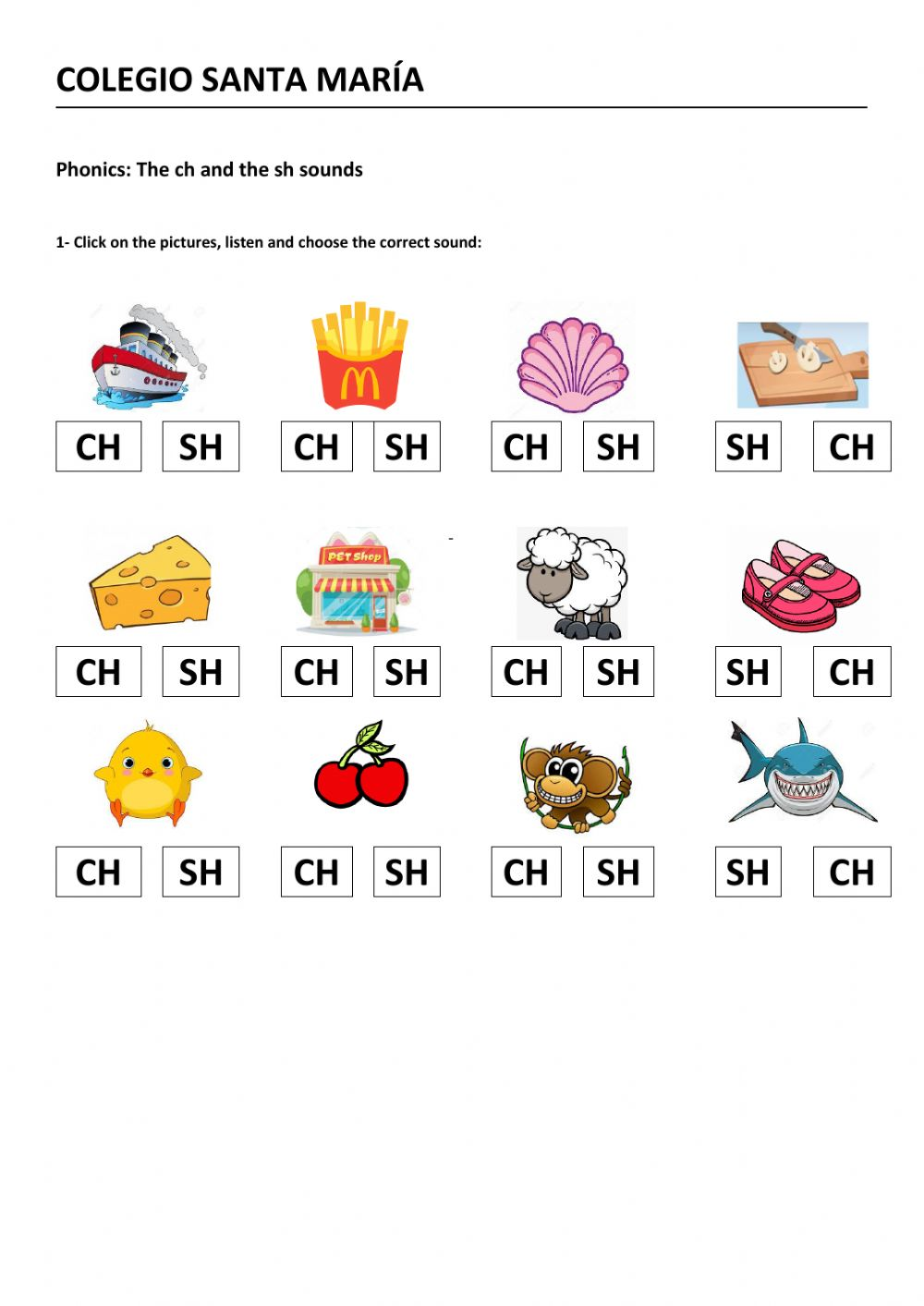 medium resolution of The CH and the SH sounds worksheet