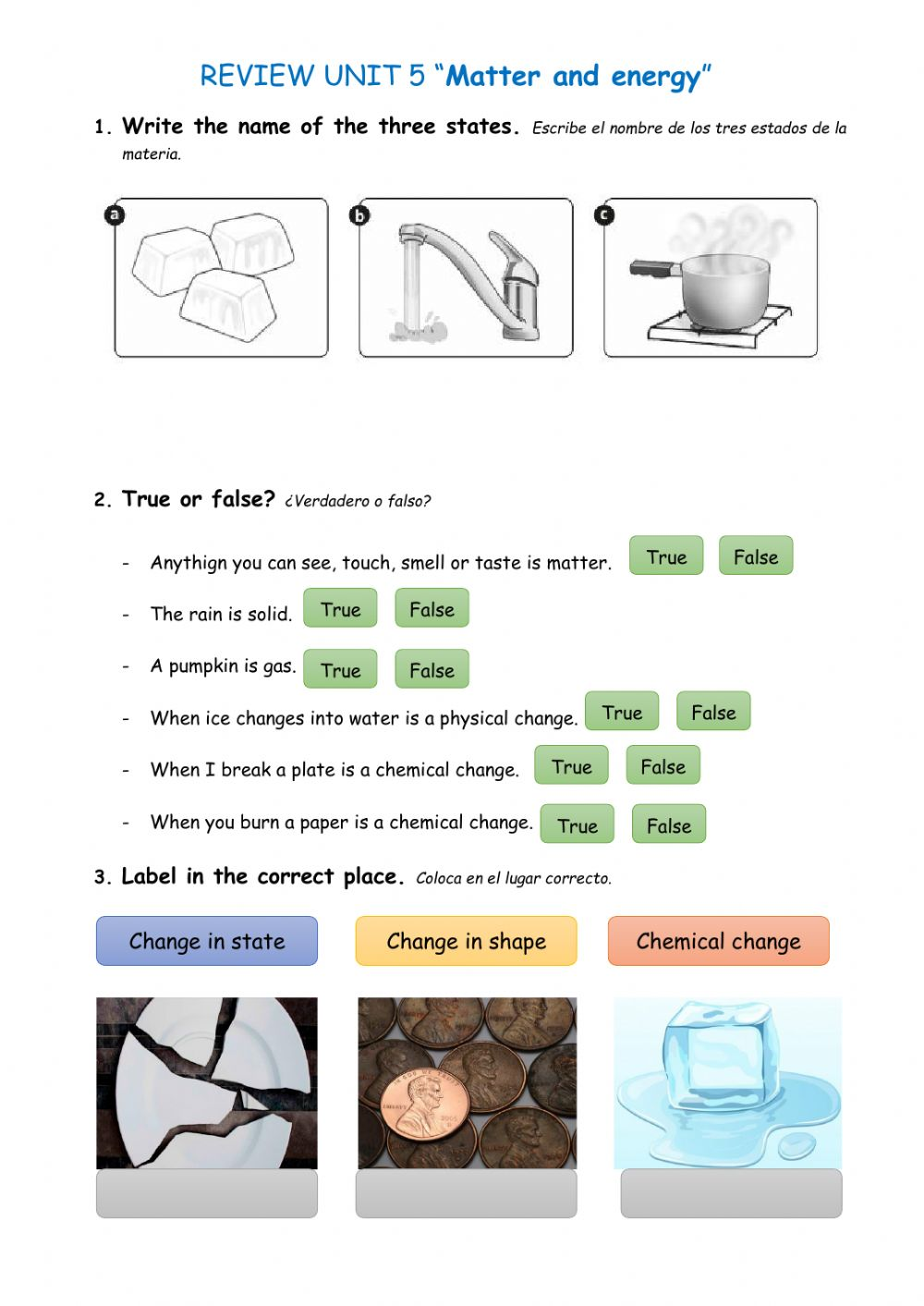 medium resolution of Natural Science: matter and energy worksheet
