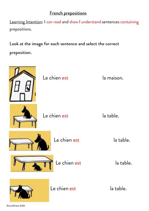 small resolution of French prepositions in sentences. worksheet