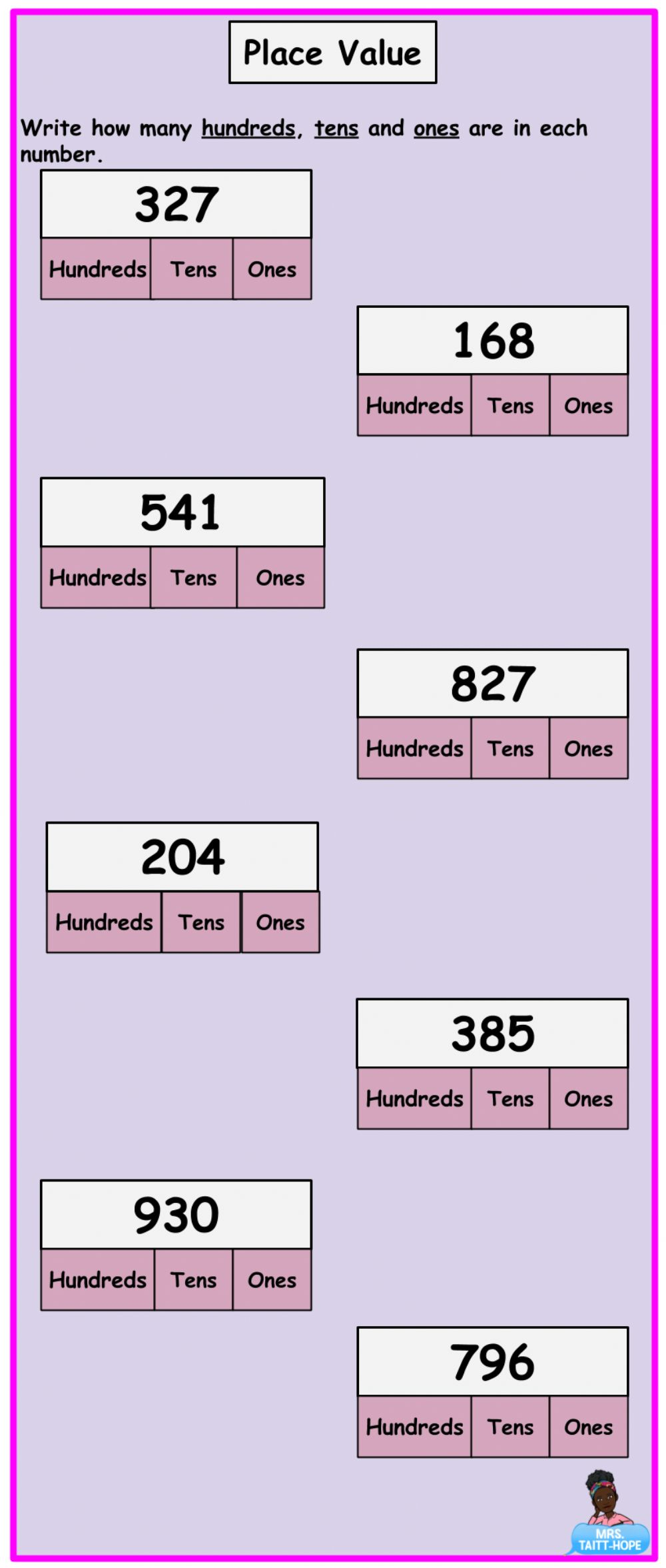 hight resolution of Place Value of 3 Digit Numbers worksheet
