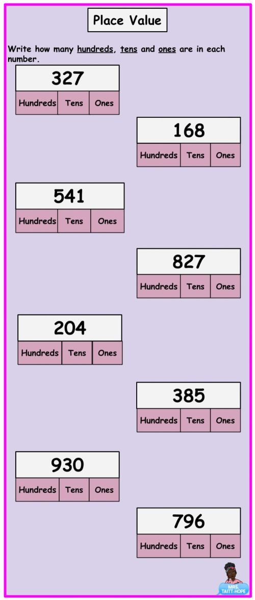 small resolution of Place Value of 3 Digit Numbers worksheet