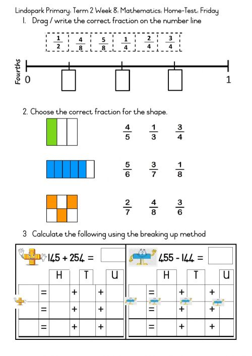 small resolution of Mathematics Grade 3 Term 2 Week 8: Friday Home-test Fractions worksheet