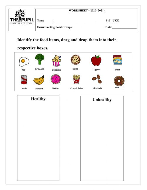 small resolution of Sorting food groups worksheet