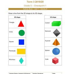 2D and 3D shapes- Grade5 worksheet [ 1413 x 1000 Pixel ]
