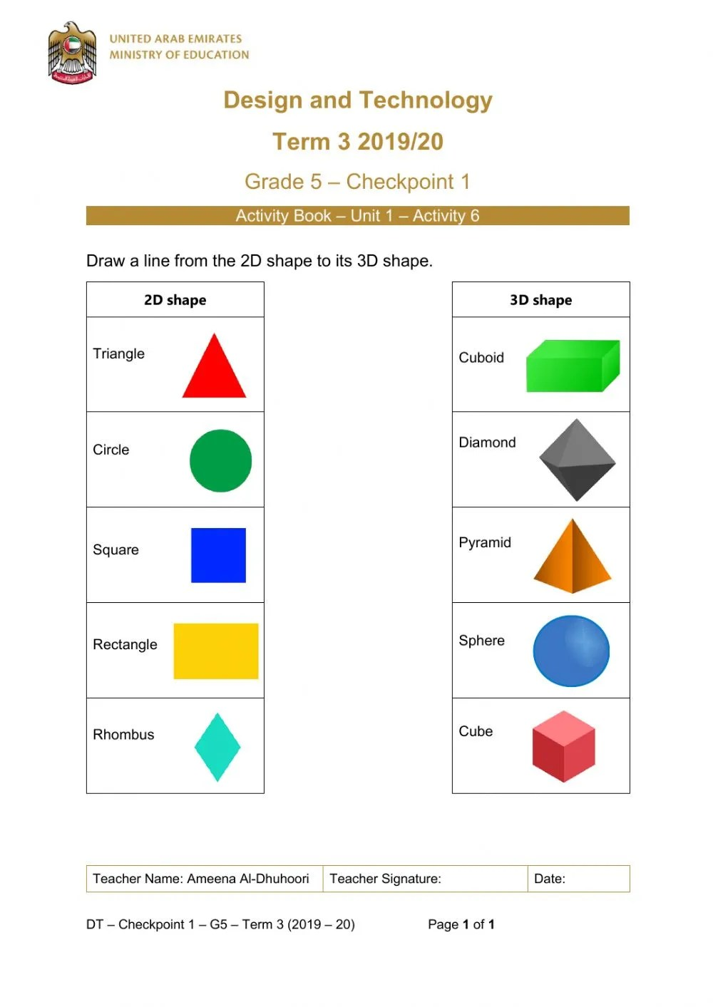 hight resolution of 2D and 3D shapes- Grade5 worksheet