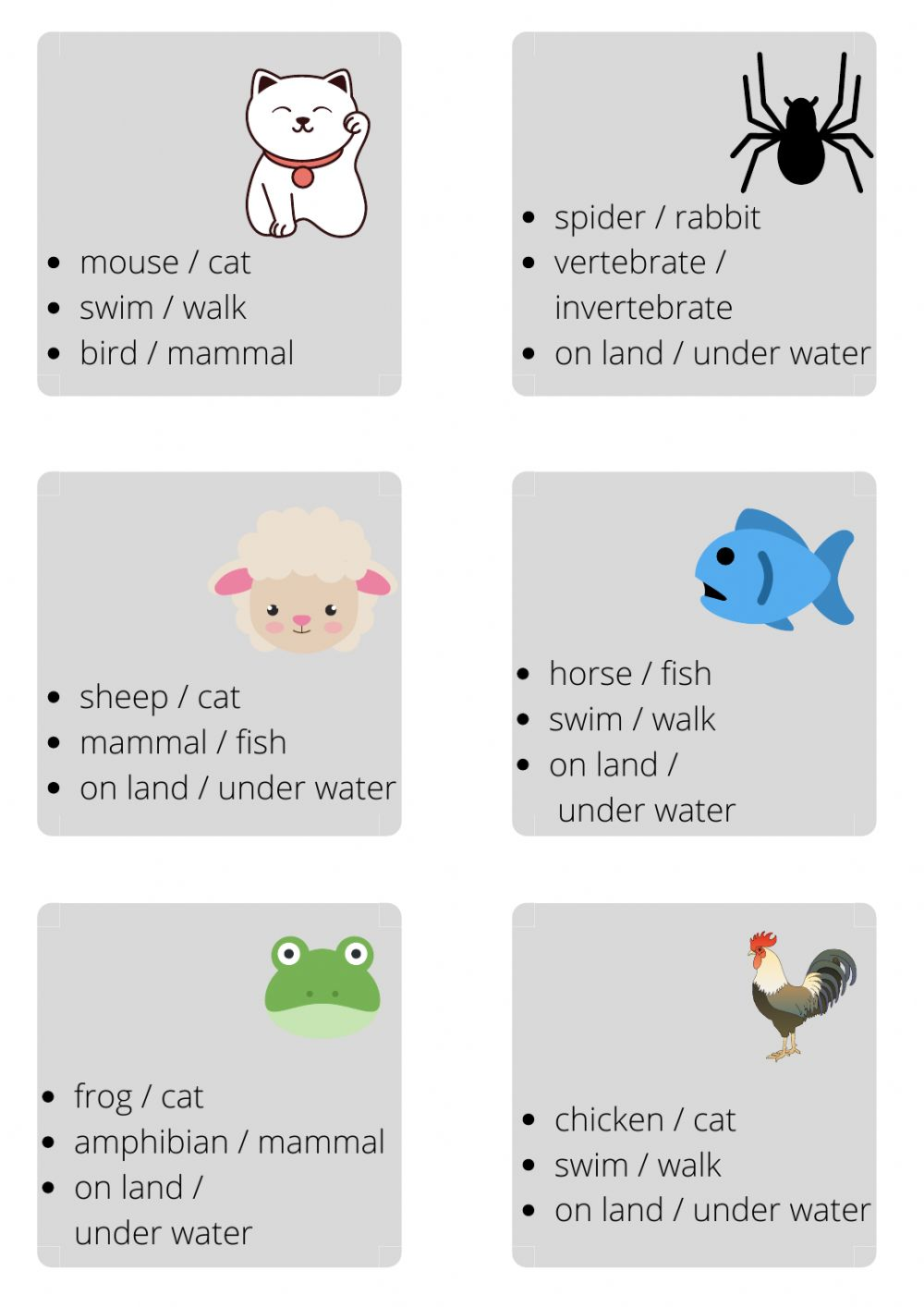 hight resolution of Animals online exercise for 1st grade