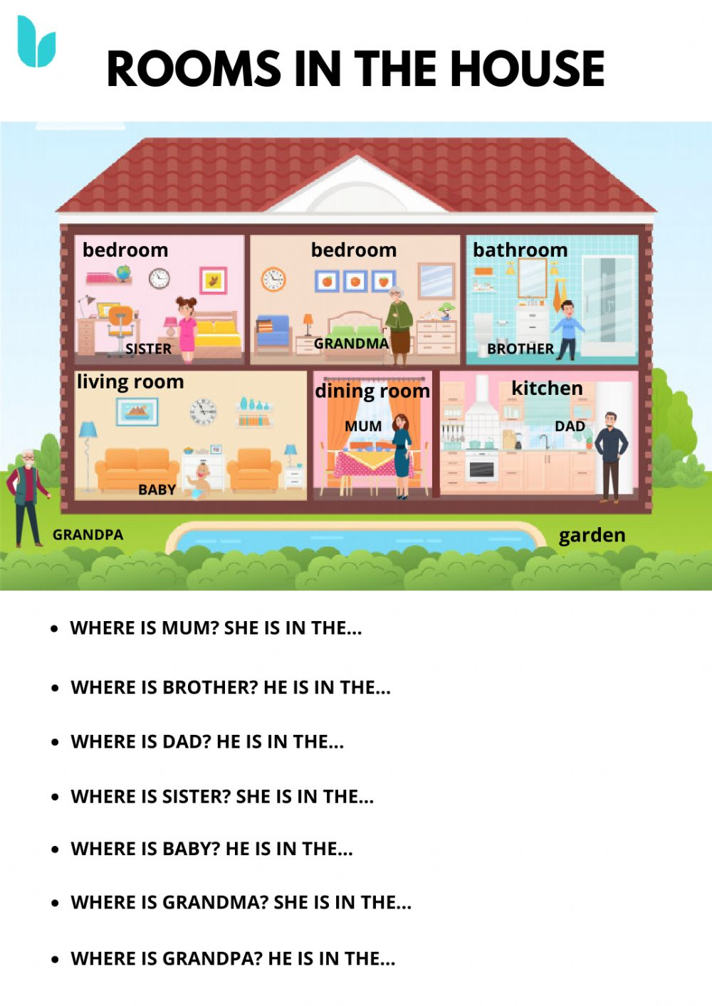 medium resolution of Rooms in the house interactive worksheet for grade 1