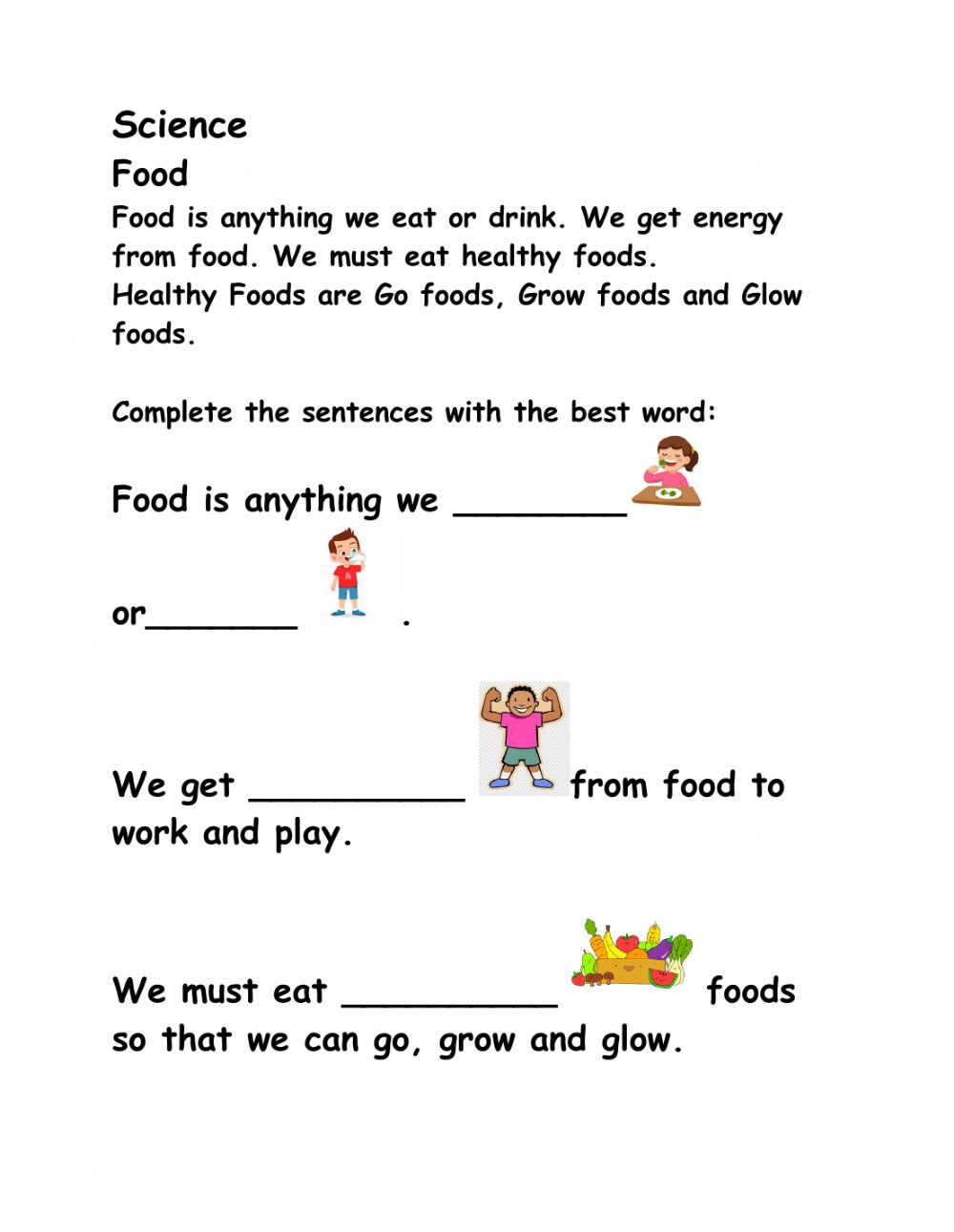 medium resolution of Food online exercise for Grade 1 -2