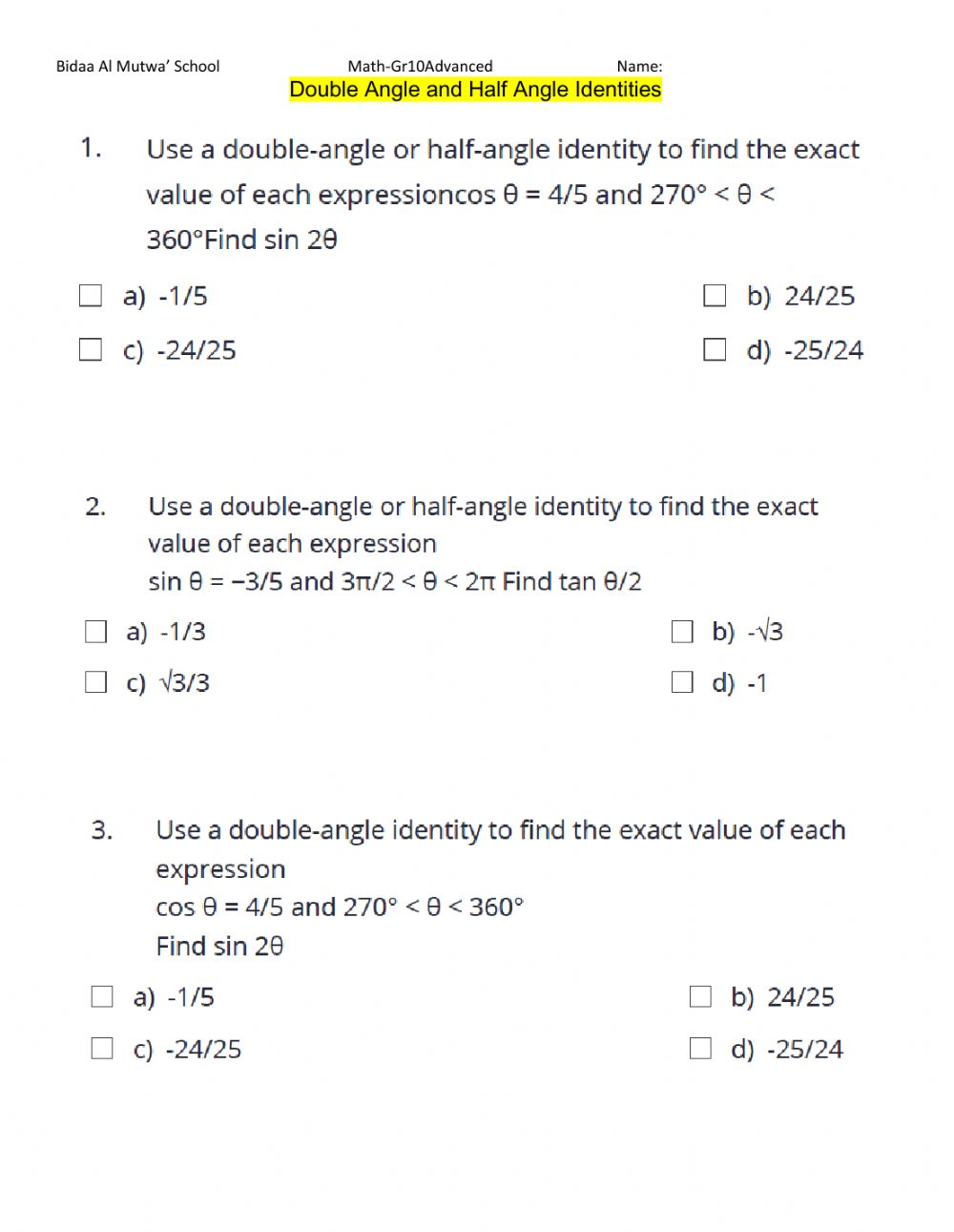 hight resolution of Double Angle and Half Angle Identities worksheet