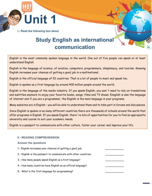 small resolution of English as International Communication worksheet