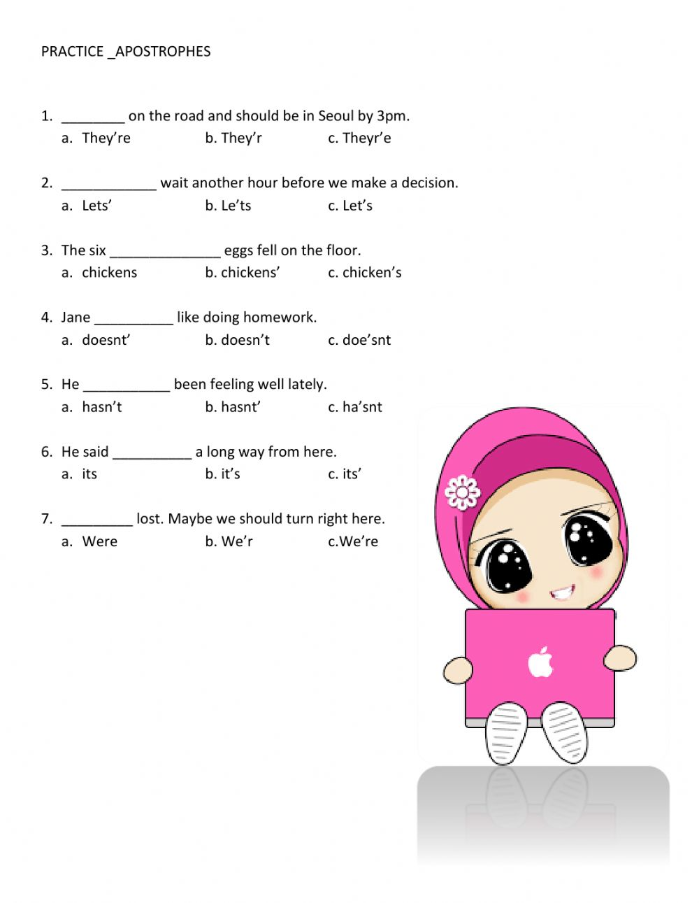 hight resolution of Apostrophes worksheet
