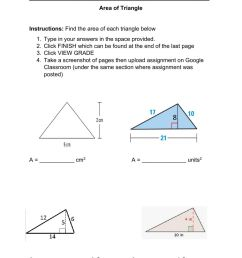 Area of Triangle worksheet [ 1413 x 1000 Pixel ]