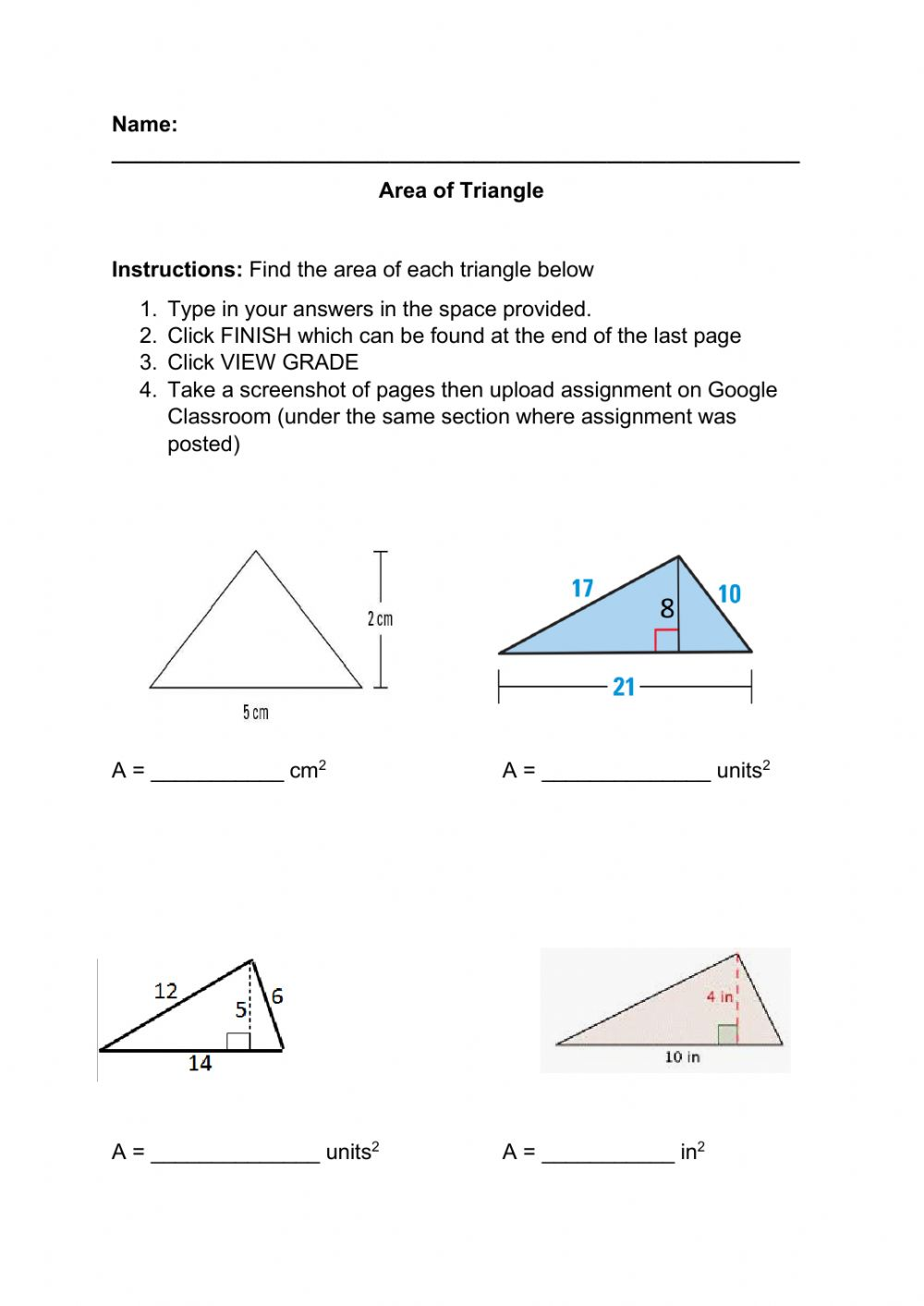 hight resolution of Area of Triangle worksheet