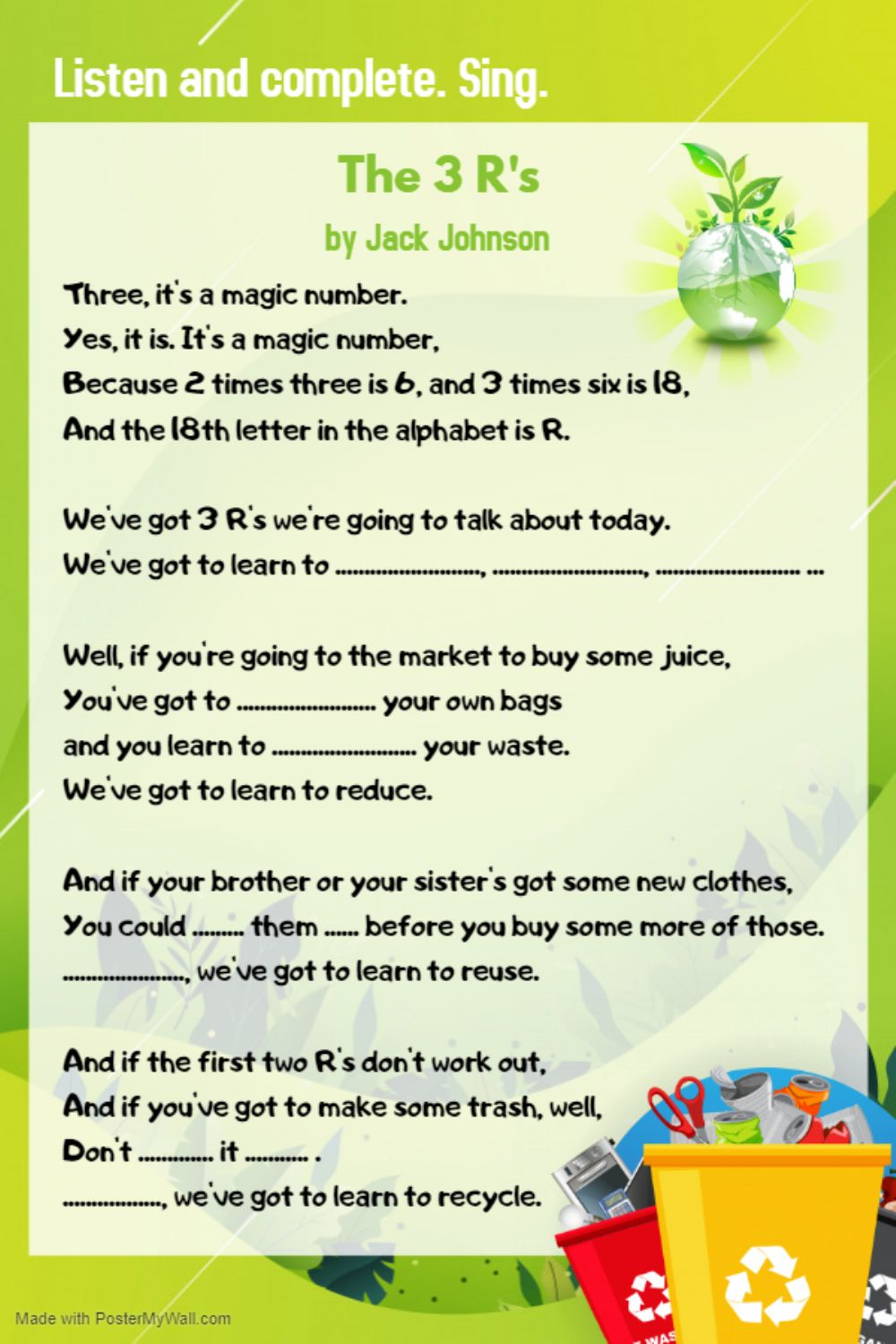 hight resolution of The 3 R's song by Jack Johnson worksheet
