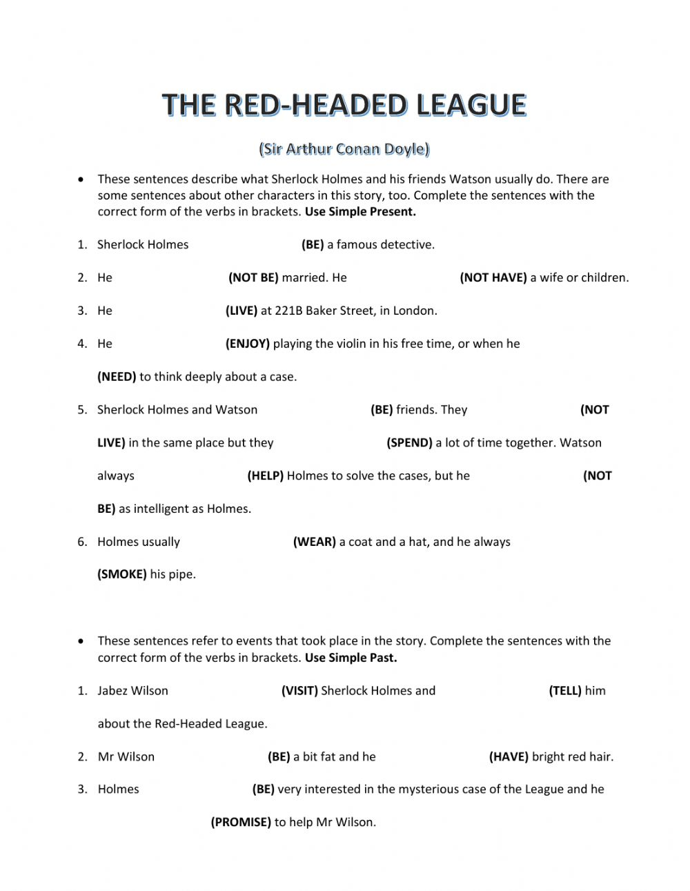 hight resolution of The Red-Headed League worksheet