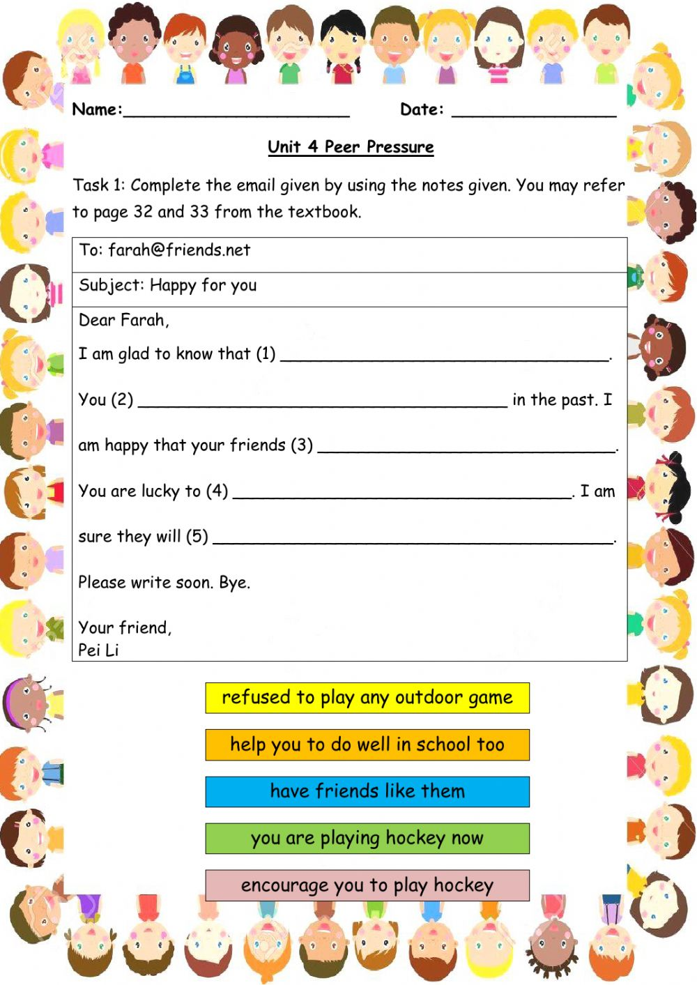 medium resolution of Peer Pressure worksheet