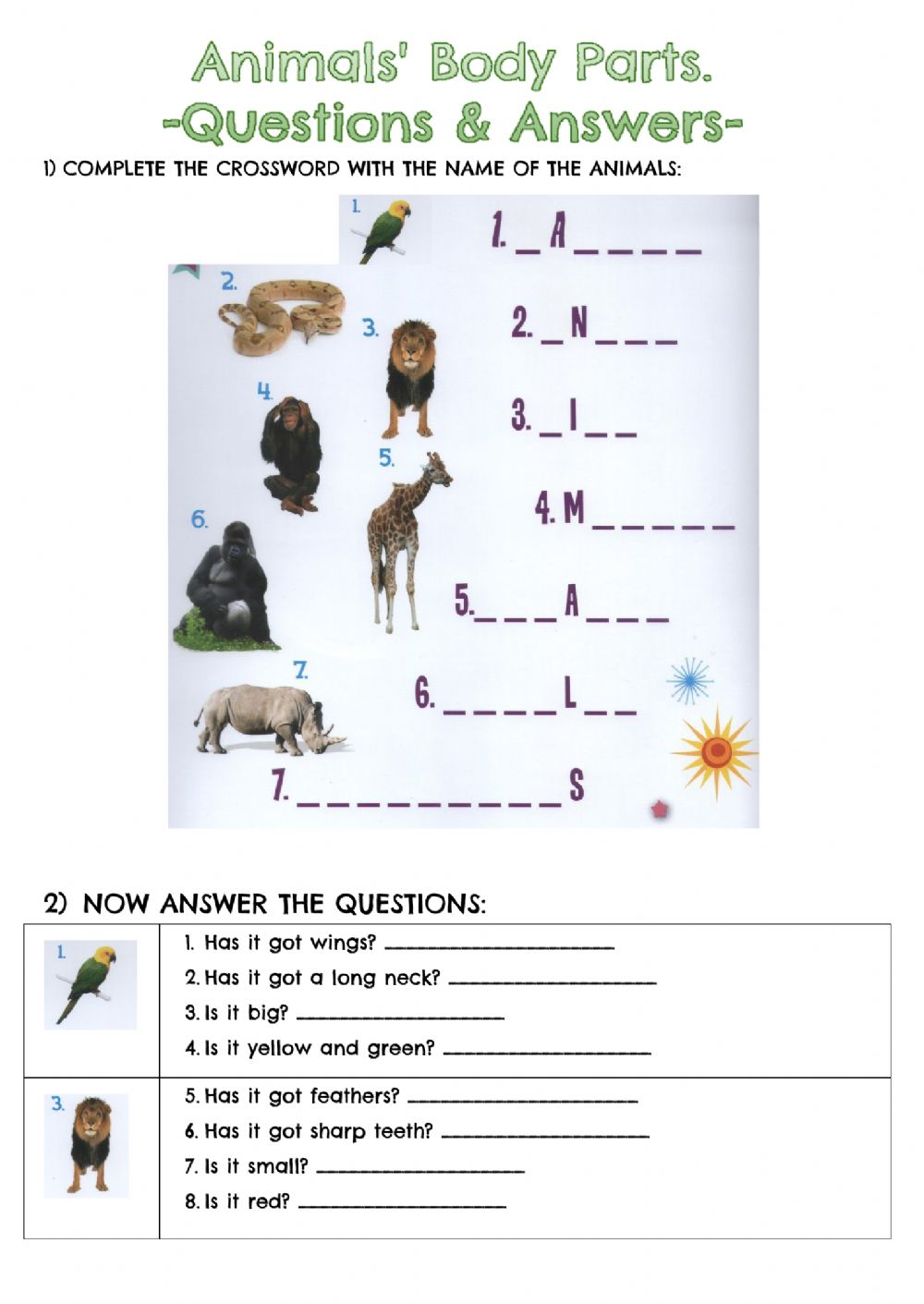 hight resolution of Animals body parts online exercise for second grade / third grade / kids 2  / beginners