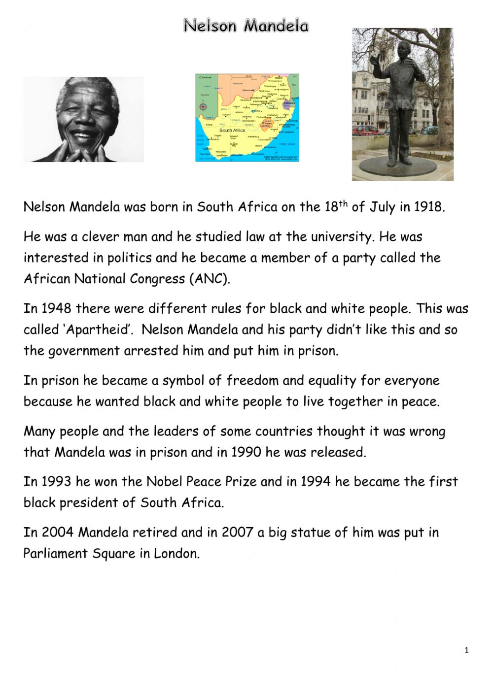 hight resolution of Nelson Mandela online worksheet