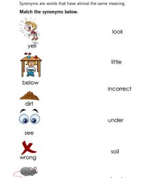 Synonyms activity for grade1 [ 1291 x 1000 Pixel ]