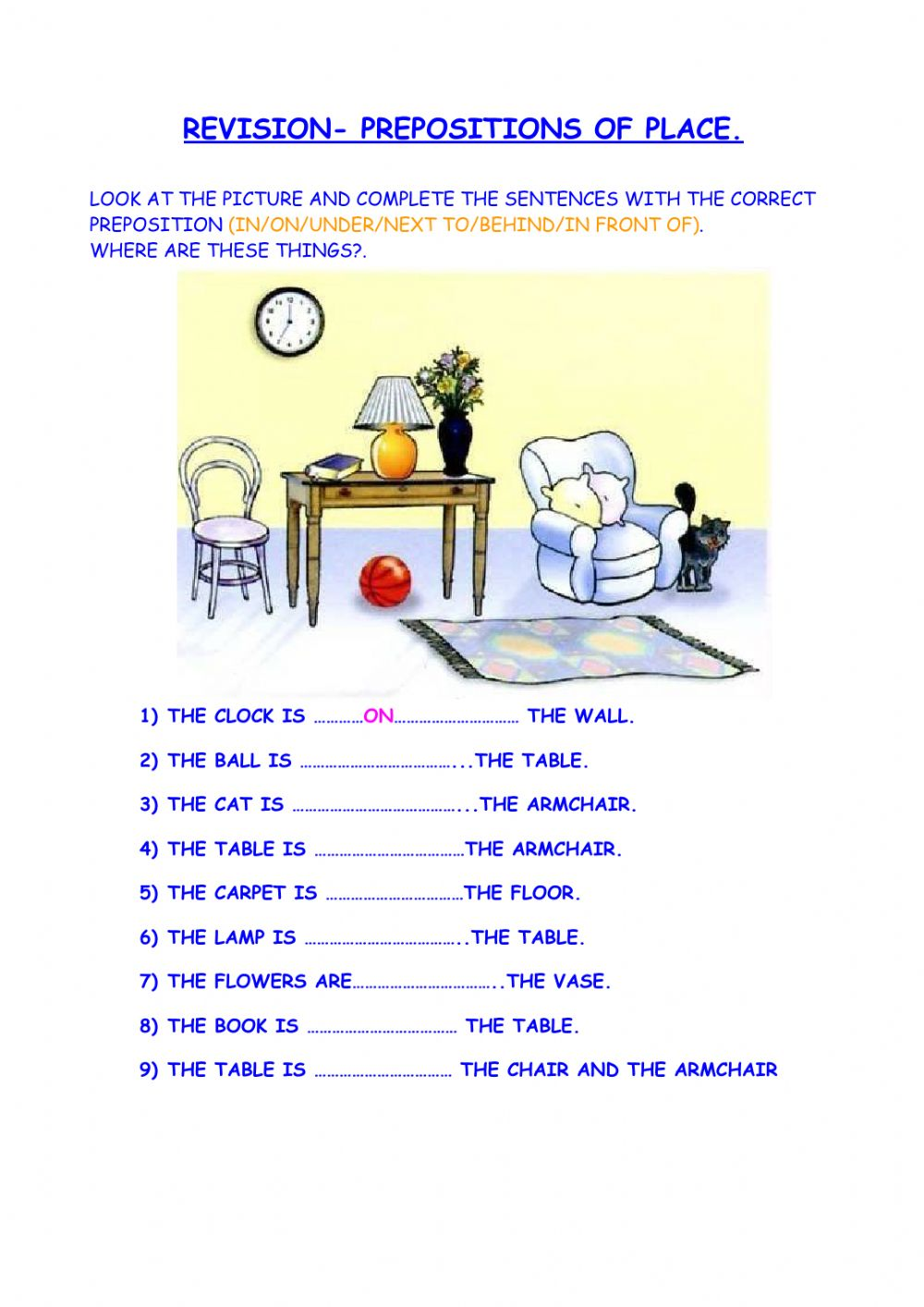 hight resolution of Prepositions of place online exercise for 2nd