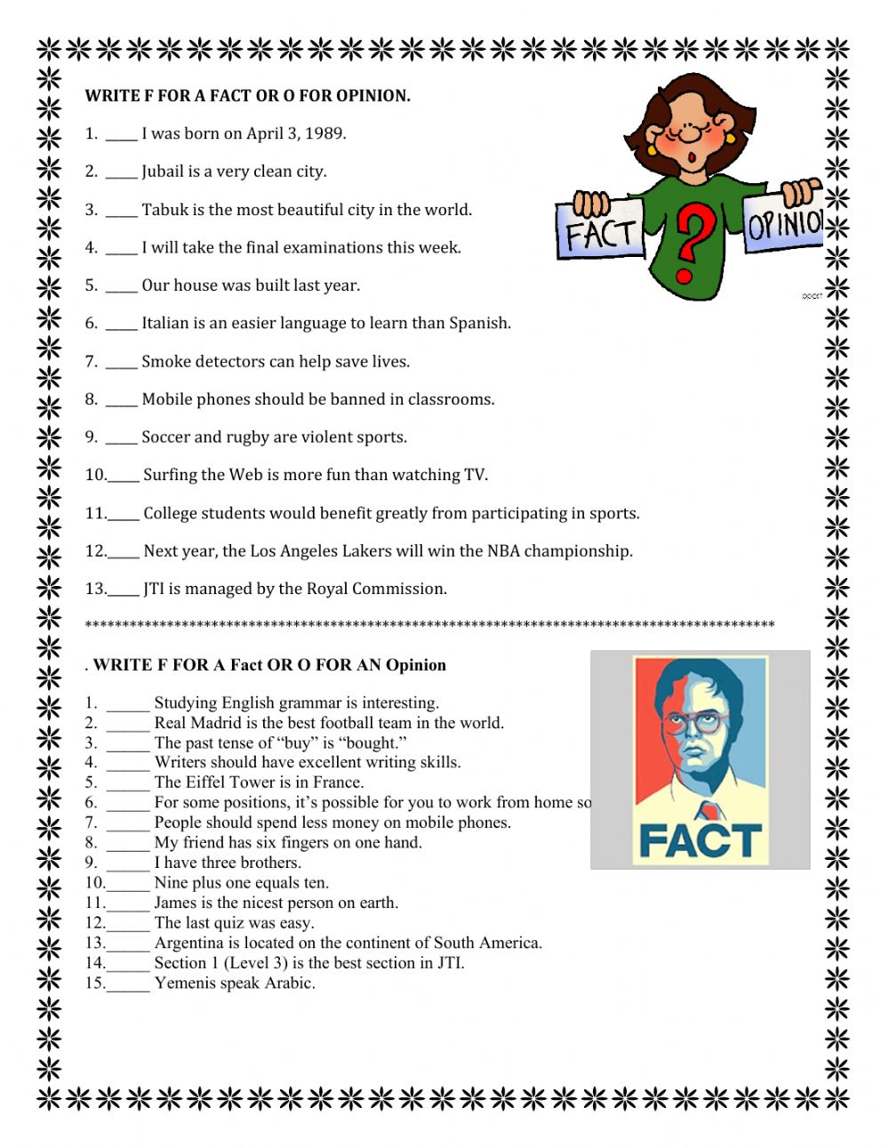 hight resolution of Fact or opinion 7th grade worksheet