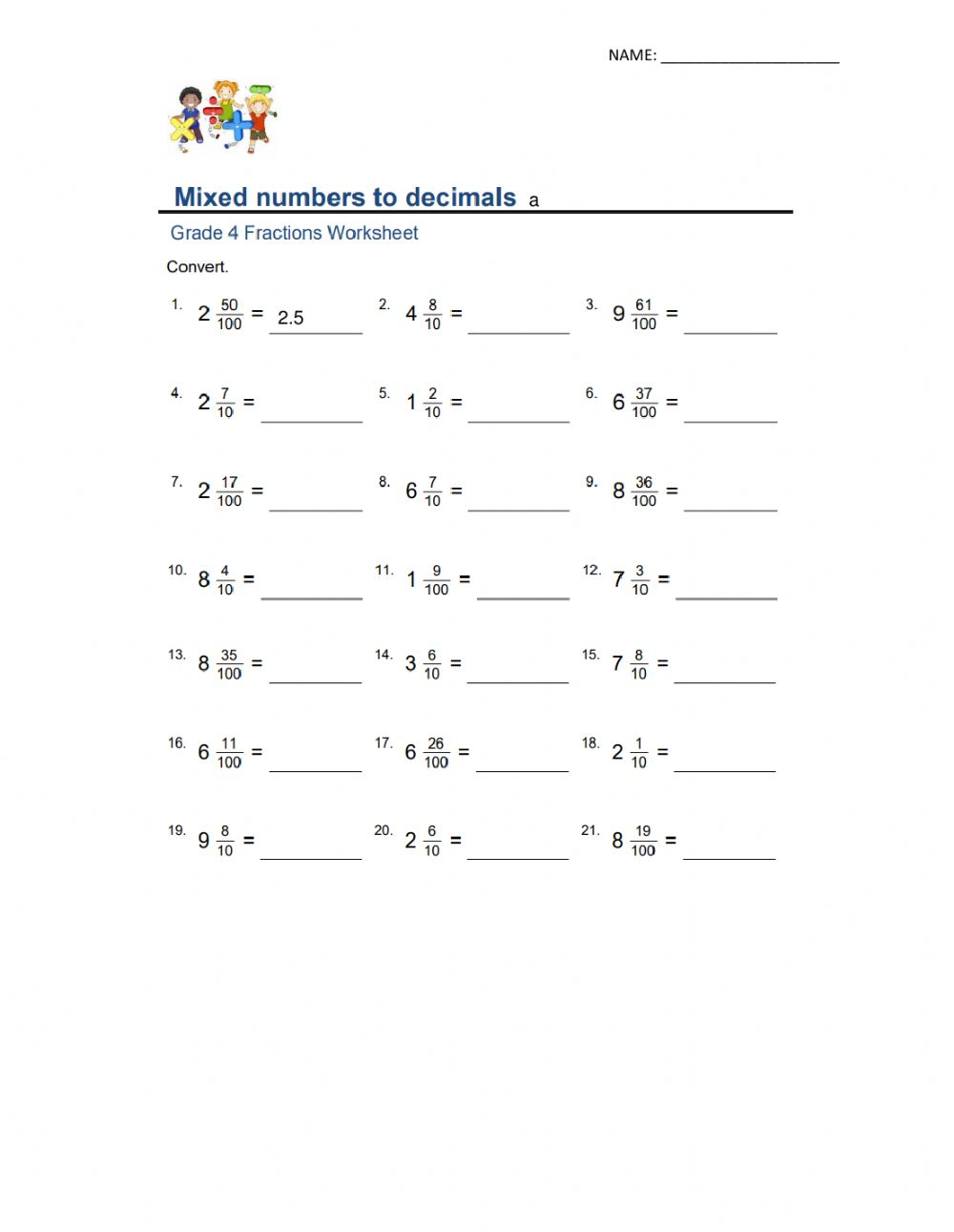 hight resolution of Mixed numbers to decimals worksheet
