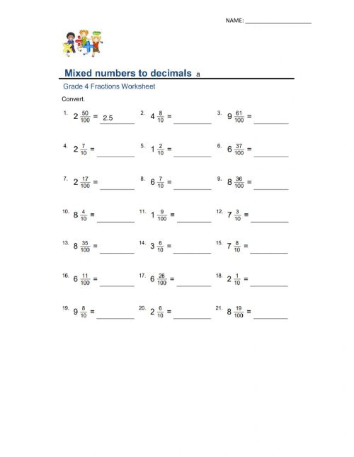 small resolution of Mixed numbers to decimals worksheet
