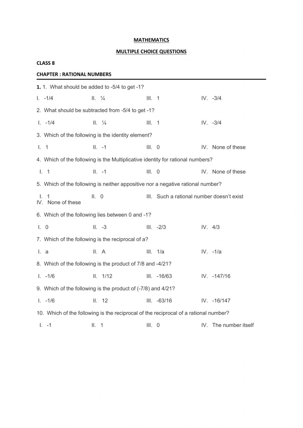 medium resolution of Rational numbers activity