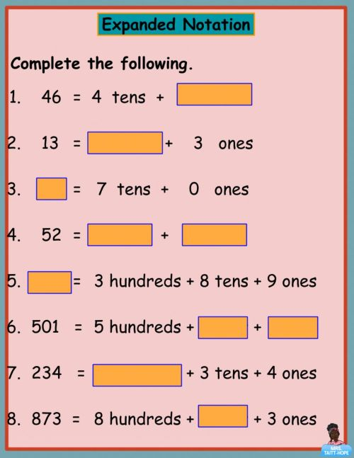 small resolution of Expanded Notation 4 worksheet