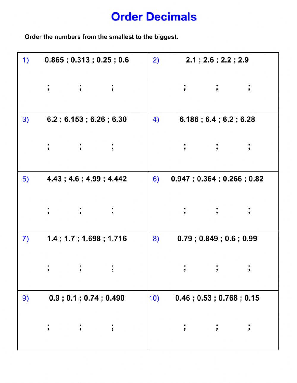 hight resolution of Ordering decimals worksheet