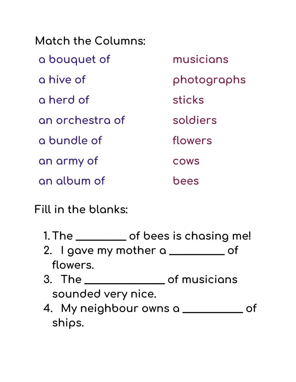 hight resolution of Collective Nouns interactive activity